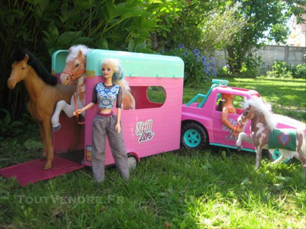 Voiture de barbie avec van pour chevaux alet les bains 11580 - Barbie chevaux ...
